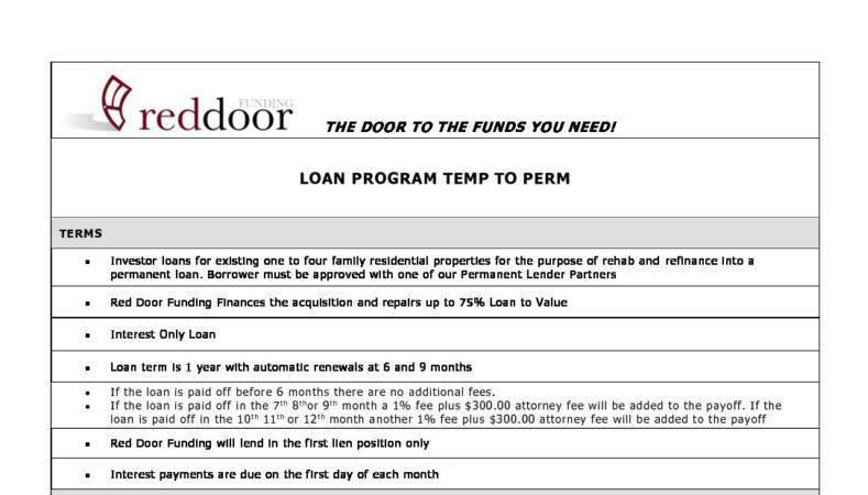 Temp to Perm Loan